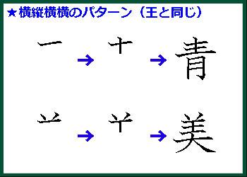 横棒3本ある場合は横→縦→横→横の書き順