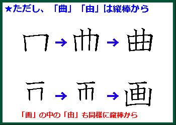 書き順のルール④「曲」「由」は縦棒から書く