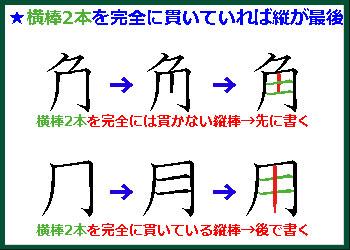 書き順のルール④横棒2本を完全には貫かない縦棒は先に書く
